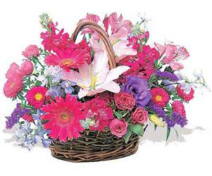 Sepet içerisinde renkli çiçeklerden oluşan aranjman